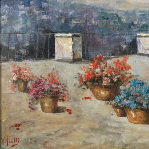 Sunny roof terrace with flower pots, by Vincenzo Irolli. Irolli's #artwork will be ...