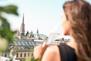 Sightseeing in Vienna from the top - from our 8th floor you can see the Stephansdom, the...