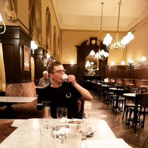 A young geographer in an old coffeehouse. #vienna #excursion Café Sperl