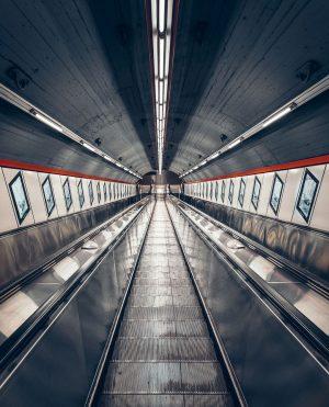 Taking this escalator at Karlsplatz always makes us feel like we're a space ...