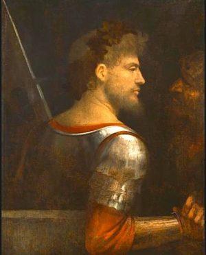 Giorgio da Castelfranco dit Giorgione (1478-1510) Ritratto d'uomo in armi, c.1505-10 Portrait d'un ...