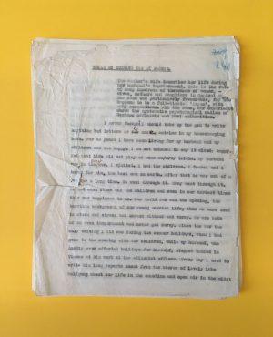 """+++OBJEKT DER WOCHE+++ das Typoskript """"While my husband was at Dachau"""" von Emilie Reich  Zum 62...."""