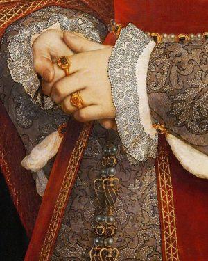 #ALaLoupe 😱 Le sens du détail d'#Holbein, peintre allemand, tableau de Jane Seymour ...